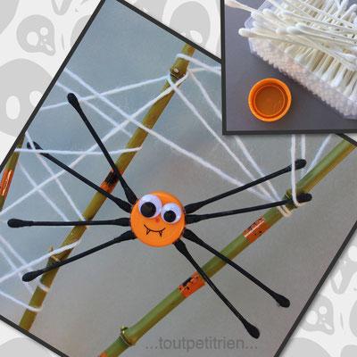 Araignée avec un bouchon de bouteille et des cotons tiges. Peindre les cotons tiges en noir, laisser sécher puis coller sur le bouchon. www.toutpetitrien.ch/bricos/  - fleurysylvie
