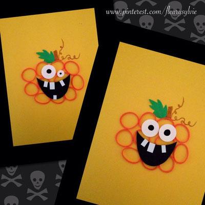 Bricolage Halloween : carte citrouille avec Rainbow Loom ! www.toutpetitrien.ch/bricos/ - fleurysylvie