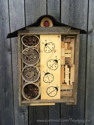 Hôtel à insectes pour les coccinelles. www.toutpetitrien.ch/bricos - fleurysylvie