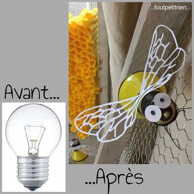 Décoration vitrines magasin d'optique (abeilles avec des ampoules usagées) www.toutpetitrien.ch - fleurysylvie