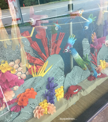 Décoration vitrines été (Clinique vétérinaire) : poissons avec des gants de chirurgie www.toutpetitrien.ch - fleurysylvie