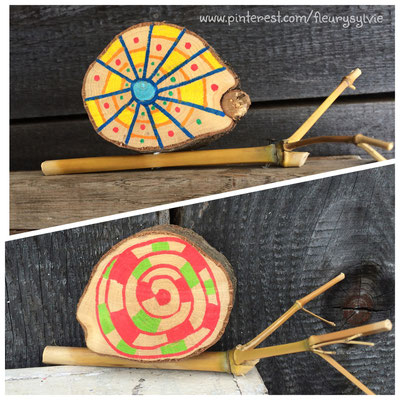 Escargots natures avec une rondelle de bois et un morceau de bambou. www.toutpetitrien.ch/bricos/ - fleurysylvie