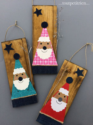 Pères Noël en papier sur des chutes de bois. www.toutpetitrien.ch/bricos/ - fleurysylvie