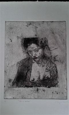 """""""Pas si Geisha"""" 2017 Eaux-fortes et aquatintes 25x20"""