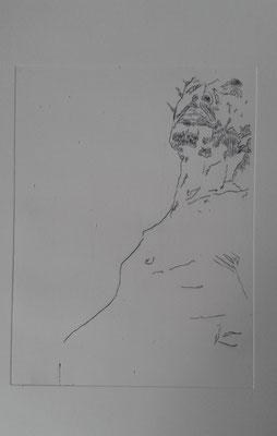 """""""autoportrait d'un sursis"""" 2014 Taille douce"""