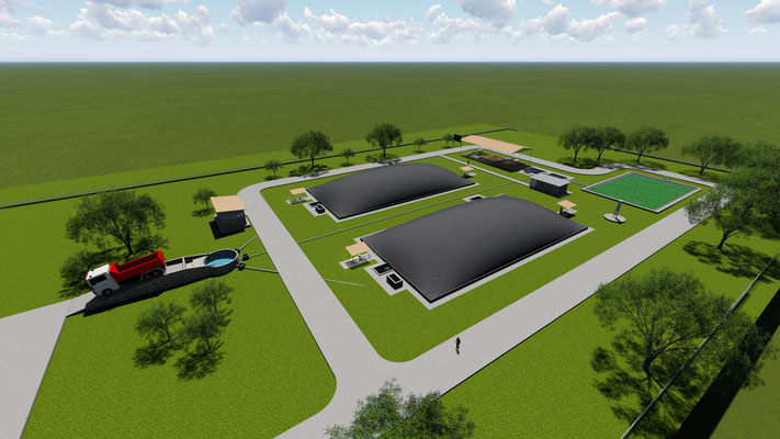 POME covered lagoon digester - 3D design - Aqualimpia lagoon digester