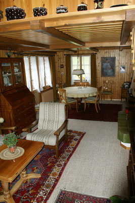 Living and dining room with cheminée and satellite television