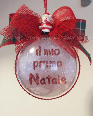 """Pallina """"Il mio primo Natale"""" diam. 8 cm. Personalizzabile 1/3"""