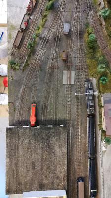 Draufsicht auf die Gleisentwicklung.