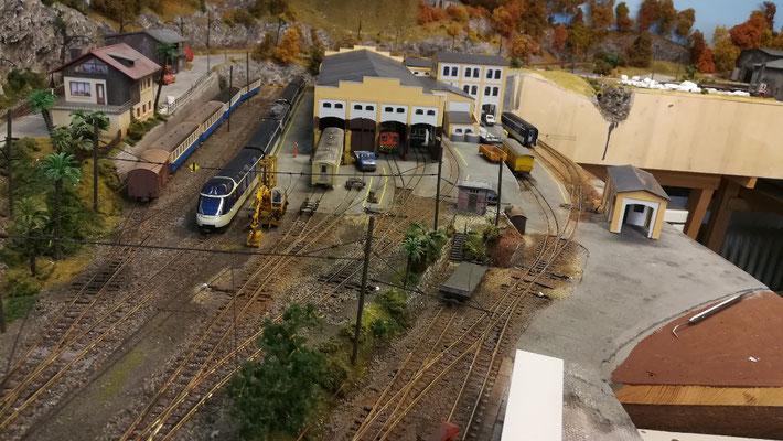 Übersicht über das Gleisvorfeld des Depots.