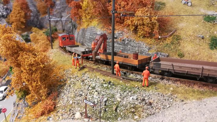 Der erste Einsatz im Bereich der Bahnbaustelle