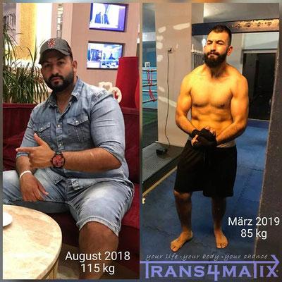 Sener kasumi hat es mit der Hilfe von Trans4matix geschafft unglaubliche 30kg abzunehmen und einiges an qualitativer Muskulatur aufzubauen. Das Ergebnis ist erstklassig.