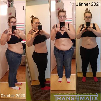 Unsere Kundin Tanja Feichter hat es mit der Hilfe von Trans4matix geschafft in nur 3 Monaten ihren Körperfettanteil um die Hälfte zu halbieren. Wir gratulieren zu dieser tollen Leistung. Weiter so!