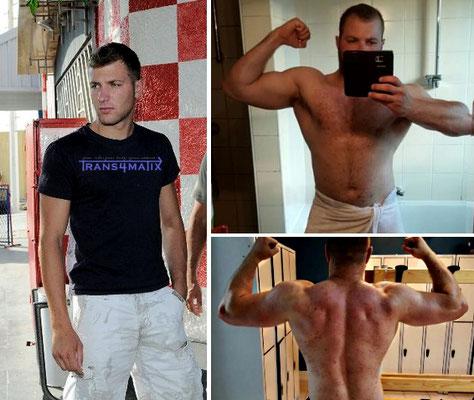 Patrick Hügel trainiert gerade nach dem Trans4matix Konzept und macht sehr gute Fortschritte in richtung Bodytransformation! Weiter so!