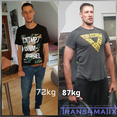 Der knapp 2 Meter große Sascha Grabe aus Klagenfurt hatte immer Probleme beim zunehmen, bis ihn Trans4matix betreut hat. Es wurde seine Ernährung erfolgreich umgestellt und ihm ein solider Trainingsplan erstellt. Ein + von 10kg an qualitativer Muskelmasse