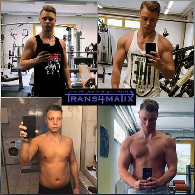 Daniele Quaglia hat mit dem T4X Konzept seine Ernährung alltagstauglich umgestellt und seine Liebe zum Kraftsport endeckt. Er hat nun sichtlich weniger Körperfettanteil und einiges an qulitativer Muskulatur aufgebaut bei einem gleich bleibenden Gewicht.