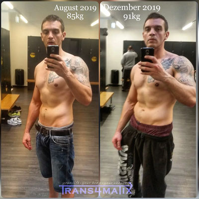 Was alles in nur 8 Wochen mit der Hilfe von Trans4matix möglich ist, zeigt hier Marcell Vidakovic Palocz er hat seinen Körper erfolgreich definiert indem er sein gebundenes Unterhautwasser verlor und seinen Körperfettanteil senkte.