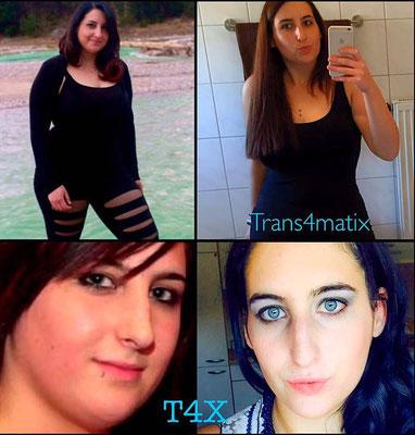 Miriam Knapp hält sich zur Zeit an das Trans4matix Trainings/Ernährungskonzept und verliert dadurch bereits ihre überschüssigen Kilos mit Erfolg! Starte auch du mit T4X um deine Vorsätze zu erfüllen und deine Ziele zu erreichen!