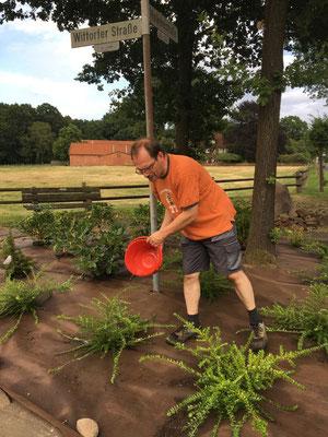 Harald Voß gießt die Pflanzen
