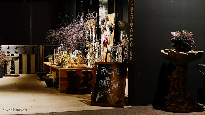 Ausstellung eines Blumengeschäftes in Balgach in der Nacht