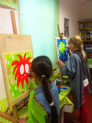Oder auch mal an der Staffelei....Kunstschule Flitzepinsel