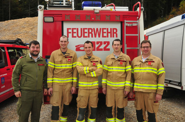 v.l.: ATS-Beauftragter Thomas Tanzer, Daniel Eberl, Christoph Eberl, Georg Crepaz und Kommandant Martin Tanzer