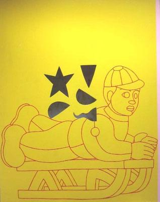 Luge, 122 x 153 cm, peinture, bois et perforations