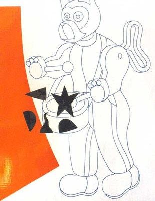 Chien 1997, 122 x 153 cm, peinture sur bois et reliefs