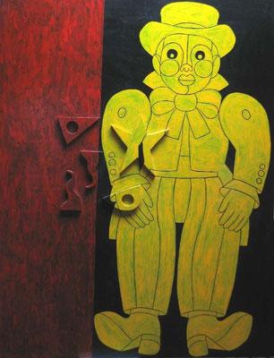 Carnaval, 122 x 153, peinture sur bois et reliefs