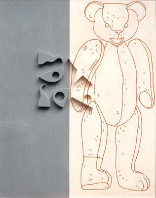 Ours février 1995, 122 x 153 cm, peinture sur bois et reliefs