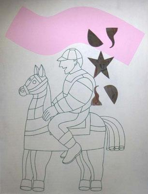 Cavalier , 122 x 153 cm, peinture, bois perforations