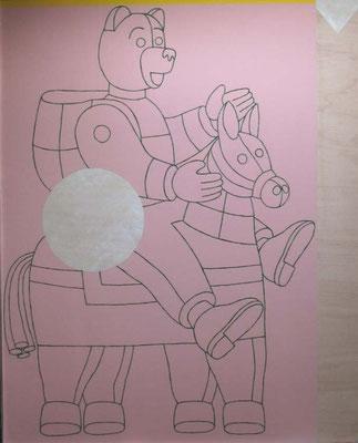 A cheval, 122 x 153 cm, peinture sur bois