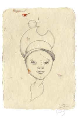 Spirit-Funke #18  (Graphit auf ca. 15,5 x 22 cm Büttenpapier mit gelb/orange Blüten) I For Sale