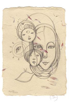 Spirit-Funke #20  (Graphit auf ca. 15,5 x 22 cm Büttenpapier mit rot/lila Blüten) I For Sale