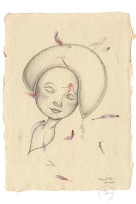 Spirit-Funke #12  (Graphit auf ca. 15,5 x 22 cm Büttenpapier mit rot/lila Blüten) I For Sale