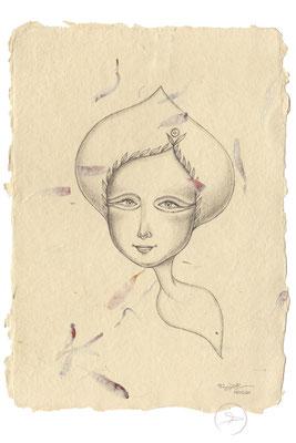 Spirit-Funke #10 (Graphit auf ca. 15,5 x 22 cm Büttenpapier mit rot/lila Blüten) I –