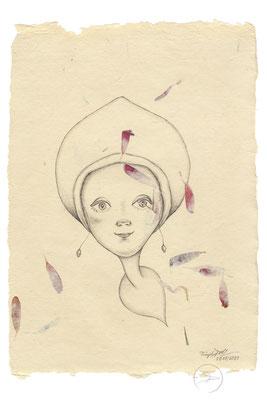 Spirit-Funke #14  (Graphit auf ca. 15,5 x 22 cm Büttenpapier mit rot/lila Blüten) I –