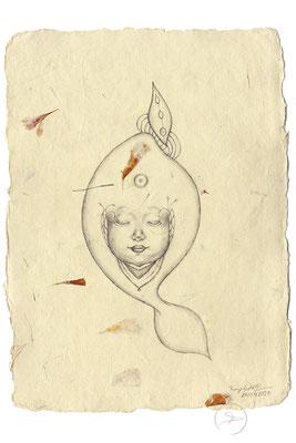 Spirit-Funke #17  (Graphit auf ca. 15,5 x 22 cm Büttenpapier mit gelb/orange Blüten) I For Sale