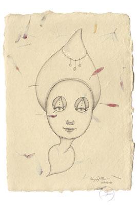 Spirit-Funke #13  (Graphit auf ca. 15,5 x 22 cm Büttenpapier mit rot/lila Blüten) I For Sale