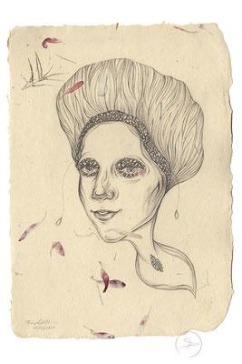 Spirit-Funke #19  (Graphit auf ca. 15,5 x 22 cm Büttenpapier mit rot/lila Blüten) I For Sale