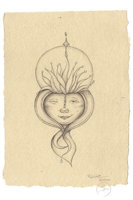 Spirit-Funke #16  (Graphit auf ca. 15,5 x 22 cm Büttenpapier) I For Sale