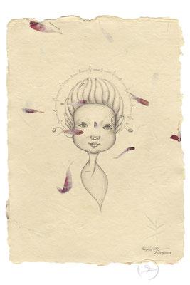 Spirit-Funke #15  (Graphit auf ca. 15,5 x 22 cm Büttenpapier mit rot/lila Blüten) I –