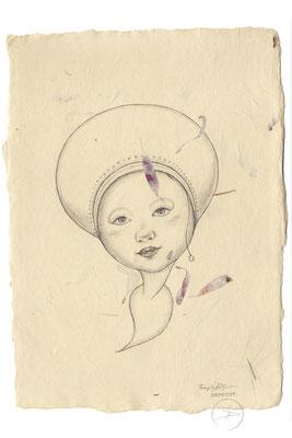 Spirit-Funke #11  (Graphit auf ca. 15,5 x 22 cm Büttenpapier mit rot/lila Blüten) I For Sale