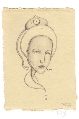 Spirit-Funke #25  (Graphit auf ca. 15,5 x 22 cm Büttenpapier) I For Sale