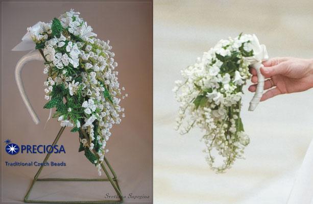 Королевский свадебный букет из бисера