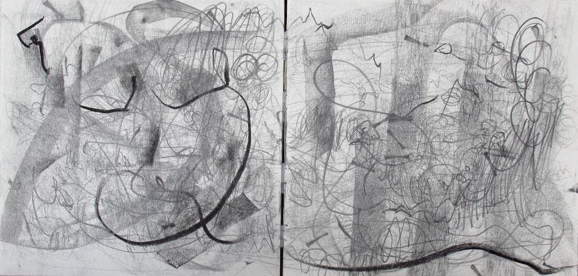 Kristin finsterbusch ,  o.T., Künstlerbuch, Bleistift, Seite 3-4 von 10 Seiten, 1996, 20 x 20 cm