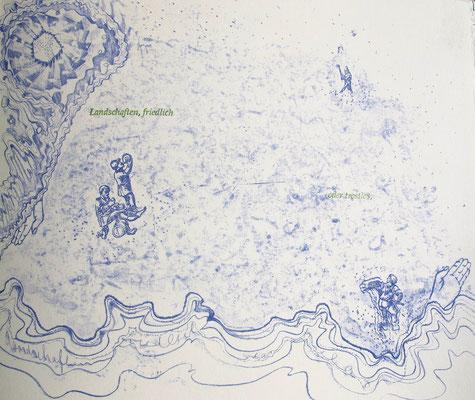 Kristin finsterbusch und Jin - Suk Kang,  Mein Wald, meine Landschaft, Künstlerbuch, Lithografie, Seite 7 von 23 Seiten, 1998, 21 x 25 cm, Auflage 20