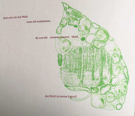 Kristin finsterbusch und Jin - Suk Kang,  Mein Wald, meine Landschaft, Künstlerbuch, Lithografie, Seite 8 von 23 Seiten, 1998, 21 x 25cm , Auflage 20