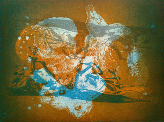 Kristin Finsterbusch, gemischtes Doppel 3, Fotoradierung und Aquatintaplatte, 2019, 15 x 20 cm