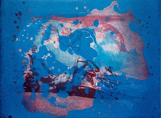 Kristin Finsterbusch, gemischtes Doppel 6, Fotoradierung  mehrfarbig überdruckt und Aquatinta, 2019, 15 x 20 cm